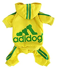 Scheppend Adidog Pet Clothes for Dog Cat Puppy Hoodies Coat Winter Sweatshirt Warm Sweater (XXXL, Yellow)