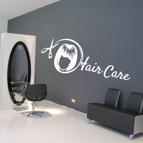 Wall Decal Decor Decals Art Hair Salon Beauty Master Stylist Comb Care Scissors Face Hairstyle Girl (M948) front-986986