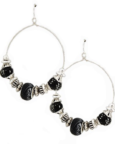Antique Silver Tone Black Pandora Glass CCB Beads Dangle Fish Hook Earrings