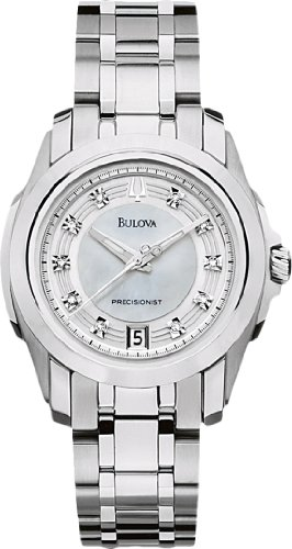Bulova 96P115 Womens Precisionist Longwood Diamond Mop Dial Steel Bracelet Watch