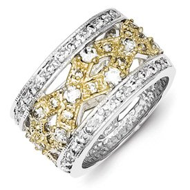 Genuine IceCarats Designer Jewelry Gift Sterling Silver & Vermeil Fancy Polished Cz Ring Size 7.00