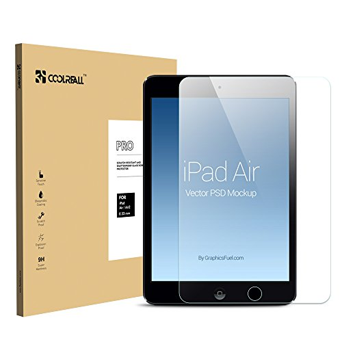 iPad Air/iPad Air 2 Screen Protector, Coolreall™ Tempered Glass Screen Protector,0.33mm Ultra-clear for iPad Air/Air2 (9.7 inch ONLY) Maximum Screen Protection from Bumps, Drops, Scrapes