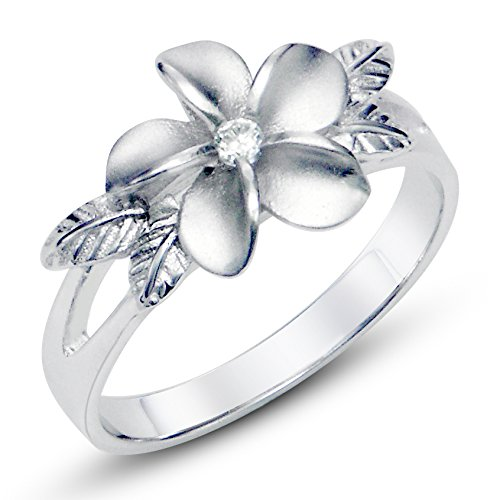Sz 7 Sterting Silver 925 Plumeria Cubic Zirconia CZ w/ Maile Leaf Hawaiian Flower Band Ring (Cz Flower Ring compare prices)