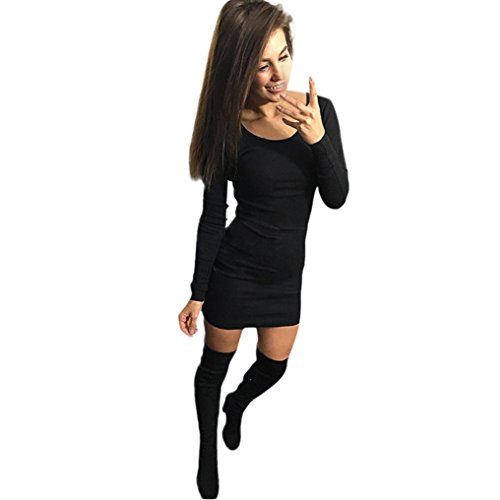 Reasoncool Dress Slim manica lunga Solid donne sexy di modo (M, Black)