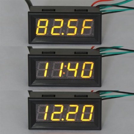 "Riorand 0.56"" Fahrenheit Scale Car Digital Temp Clock Volt Meter 3In1 Yellow Led Auto Gauge Thermometer With 18B20 Probe"