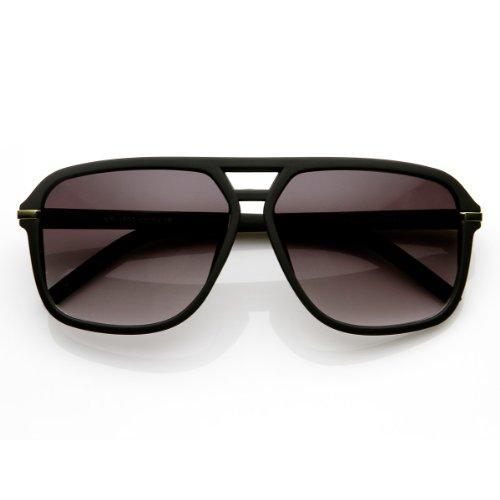 zeroUV - Square Flat Top Rubber Finish Matte Aviator Sunglasses (Matte Black)