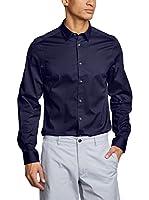 Ben Sherman Camisa Hombre Ls Stretch Poplin (Azul)