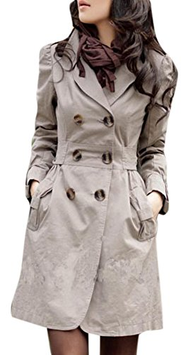 Lingswallow Women Elegant Double Breasted Belted Long Jacket Trenchcoat S Khaki