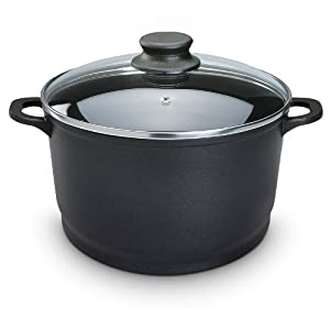 relaxdays cooking pot stockpot with glass lid non stick coating 6 7 l 28 cm black