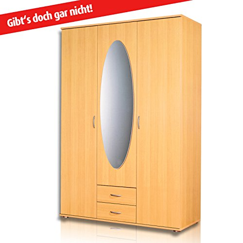 roller kleiderschrank twin buche 127 cm breit. Black Bedroom Furniture Sets. Home Design Ideas