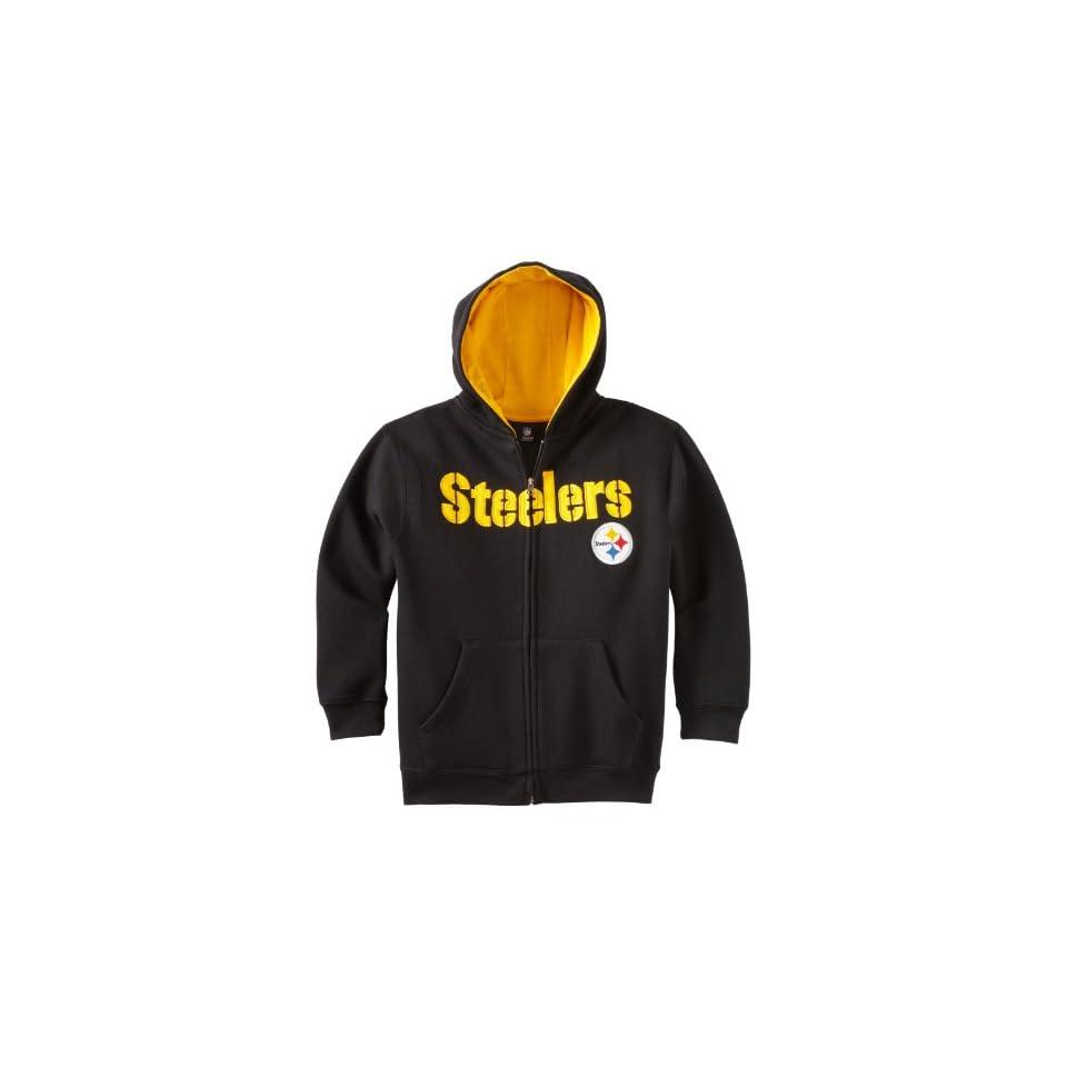 NFL Pittsburgh Steelers 8 20 Youth Sportsman Full Zip Fleece Hoodie, Black, Small
