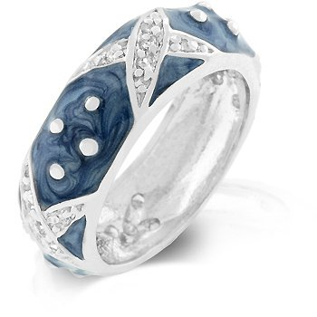 White Gold Rhodium Bonded and Light Blue Hand Applied Enamel Overlay Eternity Ring with Handset Clear CZ Xs and Silvertone Polk-a-dots in Silvertone