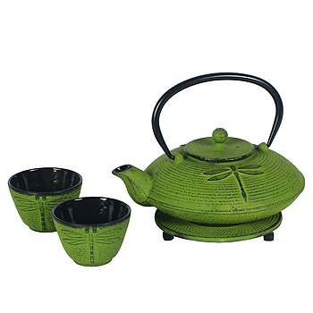 Cast Iron Dragonfly Tea Set -25 Ounce Teapot, Two Cups & Trivet, Garden, Lawn, Maintenance