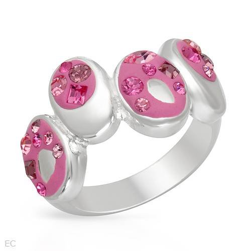 Ring With Genuine Crystals Well Made in Pink Enamel and 925 Sterling silver. Total item weight 7.0g (Size 8)