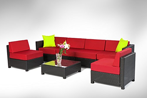 7 pcs Cushion Covers For ExacMe Wicker Sectional Sofa set Red