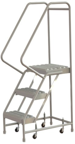 Tri-Arc WLAR103165 3-Step All-Welded Aluminum Rolling Industrial & Warehouse Ladder with Handrail, Grip Strut Tread, 16-Inch Wide Steps
