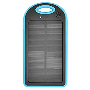 iProtect 12000mAh Solar Charger Power Bank Externer Akku Pack und Ladegerät in blau für Smartphones, Tablets und andere USB-Geräte inkl. Micro USB Kabel + Karabiner by iProtect