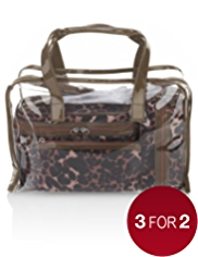 4 Piece Leopard Print Cosmetic Bag Set