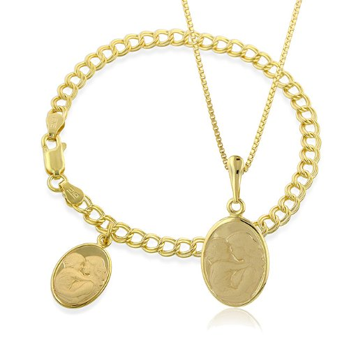 Mother and Baby Charm Bracelet and Pendant Set in Gold Plated Sterling Silver