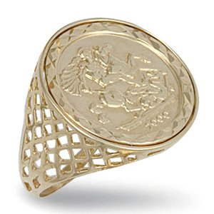 9ct Yellow Gold 23mm St Georges Full Sovereign Ring - S