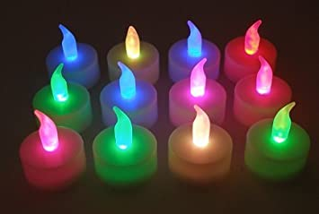 #!Cheap Color Changing Everlasting Tealights Candles with 7 Rainbow Colors- Set of 12