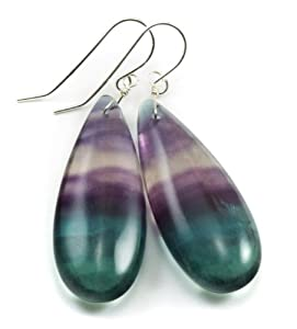 Sterling Silver Striped Fluorite Earrings AAA Smooth Teardrop Large Flourite Purple