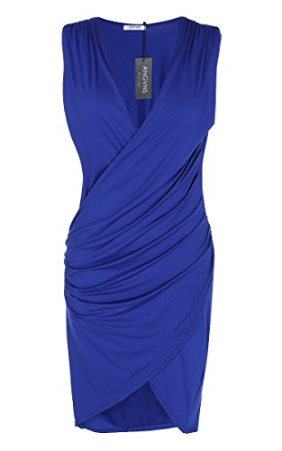 ANGVNS-Women-V-Neck-Sleeveless-Knee-Length-Party-Pleated-Dress