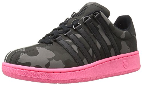 K-Swiss Women's Classic VN Camo Glam Fashion Sneaker, Black/Pewter/Neon Red, 7.5 M US