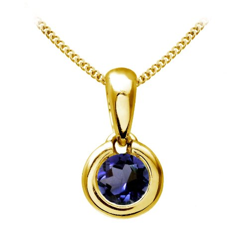 Chic 9 ct Gold Ladies Solitaire Pendant + Chain with Iolite 0.25 ct - 4mm*4mm