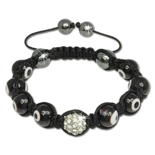 SilberDream Crystal Eyes Bead Shamballa Bracelet unisex with 10mm glass beads and white Zirconia ball and Hematite closure SDA927