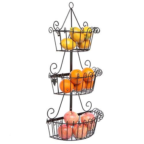 MyGift Decorative Wall Mounted Black Scrollwork Metal Basket 3 Tier Shelf Storage Organizer Display Rack (Wall Hanging Fruit Basket compare prices)