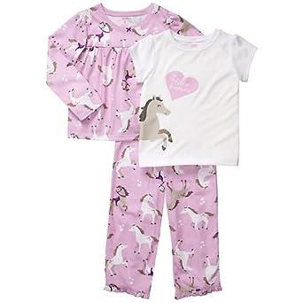 Carters Girls 12-24 Months Horse Pajama 3 Piece Set (18 Months, Purple)
