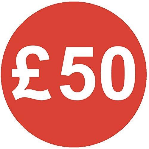 Audioprint Lot. 1000Lot de £50Prix Autocollants 30mm rouge