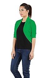 MSS Wings Viscose Womens Fashion Green Shrug(FREE SIZE-34)