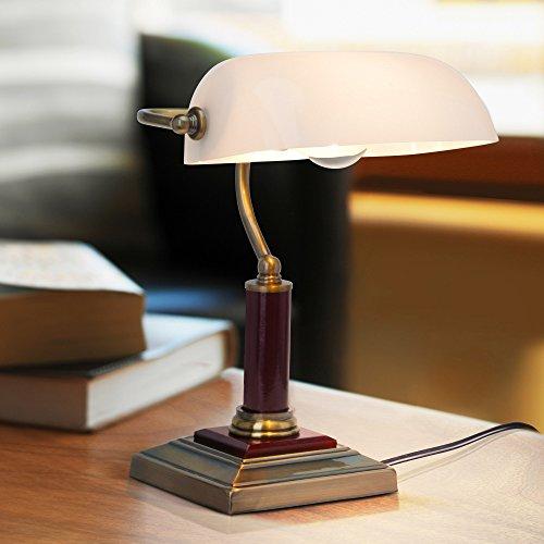Elegante-Bankerlampe-Schreibtischleuchte-mit-Holzsockel-1x-E27-max-60W-Metall-Holz-Glas-messing-antik
