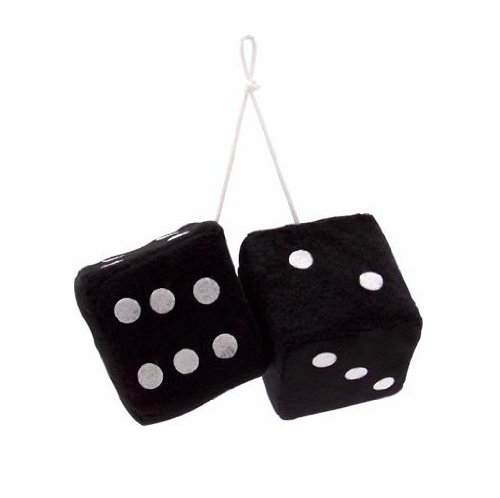 "Vintage Parts 14553 3"" Black Fuzzy Dice with White Dots - Pair - 1"