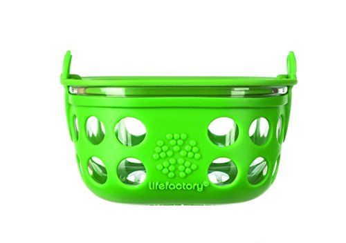 Lifefactory 1-Cup Glass Food Storage with Silicone Sleeve, Grass Green