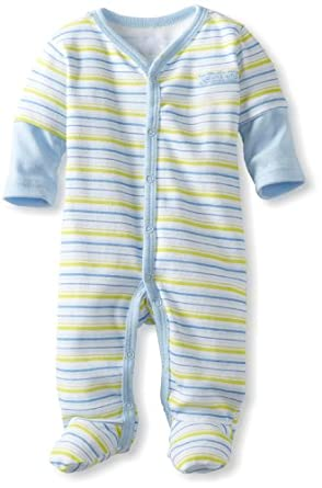 Calvin Klein Baby-boys Newborn Striped Strechie, Blue/Green, 6-9 Months