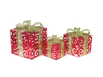 6 Mod Holiday Red/Green Lighted Christmas Gift