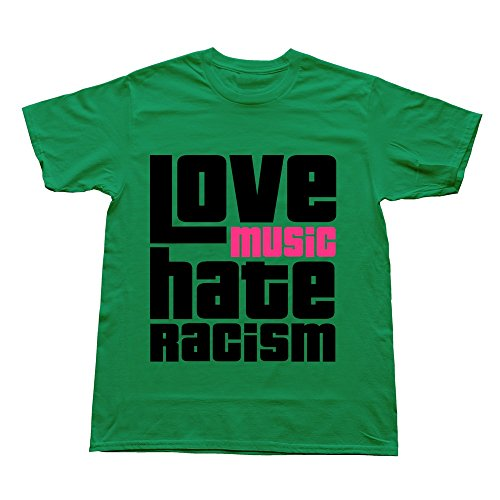 Goldfish Men'S Funny Quotes Normal Fit Love Music Hate Racism T-Shirt Kellygreen Us Size Xl