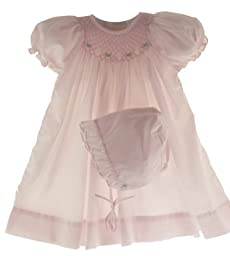 Petit Ami Newborn Baby Girls Pink Smocked Dress & Bonnet