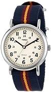 Timex Unisex T2P2349J Weekender Blue and Maroon Stripe Nylon