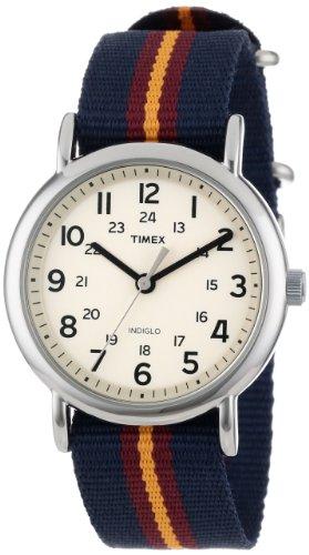 "Timex Unisex T2P2349J ""Weekender"" Blue and Maroon Stripe Nylon Strap Watch"