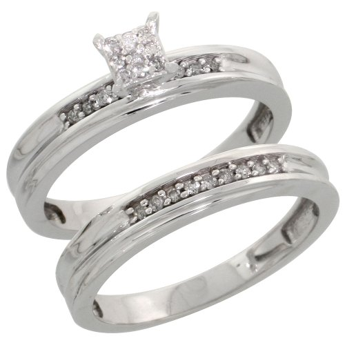 The Bridal Ring Sets Sterling Silver Ladies 2 Piece Diamond Engagement Wedding Ring Set