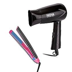 Nova Freshers Pack NHS 882 and NHP 8100 Foldable Hair Dryer (Black)