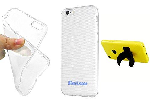 BlueArmor Soft Silicone Cover Case For Panasonic P55 Novo - Transparent + Silicon Stand