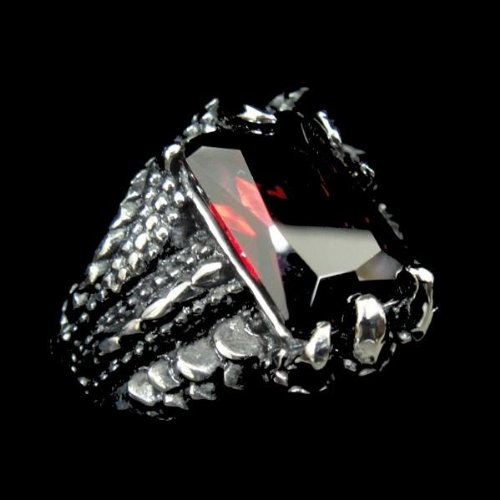Men 316L Stainless Steel Men's Dragon Hand Ring with Red CZ for Harley Rider Motor Biker TR-84 by Priority Mail