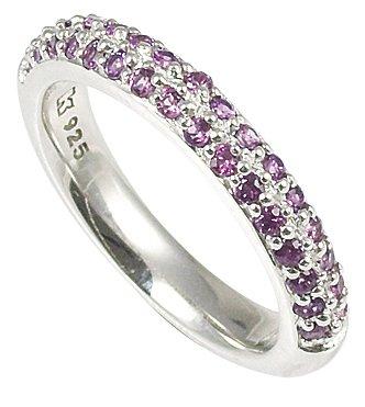 Merii Sterling Silver Purple Cubic Zirconia Half Eternity Ring