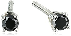 Sterling Silver Black Diamond Stud Earrings (0.10 cttw)