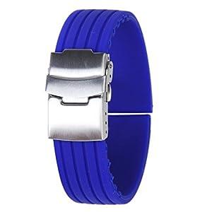 Correa De Reloj De Silicona A Prueba De Agua 22mm - Azul marca Genérico